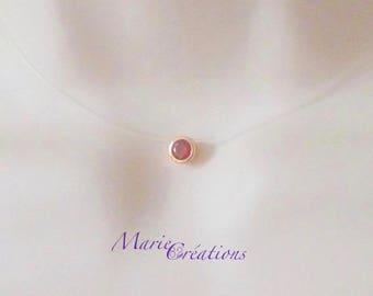 Necklace set red cubic zirconia rhinestone plated 0r / Nylon thread