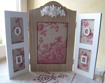Triptych French toile de jouy shabby chic frame