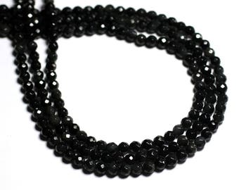 20pc - stone beads - black Rainbow Obsidian faceted balls 4mm - 8741140000803 sky