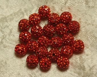 10pc - polymer and glass 8mm Orange 4558550022233 rhinestone bead