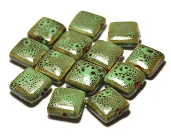 5pc - beads ceramic porcelain square 16-18mm speckled green - 8741140017122