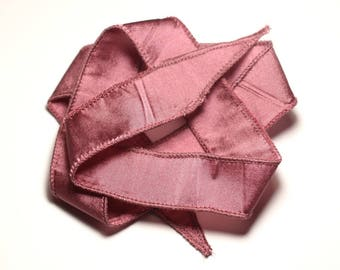 Hand dyed silk ribbon necklace 66 x 2.5 cm old Rose SOIE193 - 8741140017016