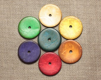 10pc - 25mm - 4558550001290 washers coconut wood beads