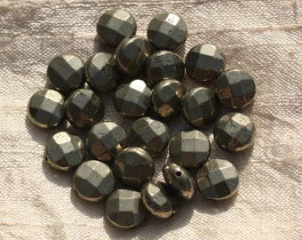 2PC - stone beads - Pyrite Golden faceted beads 10mm 4558550002594