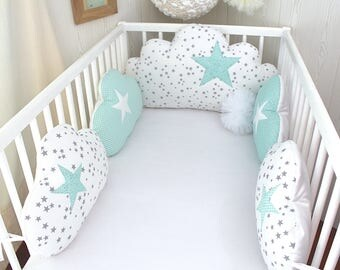 Bumper baby 60cm wide, clouds, 5 pillows, white, grey and green