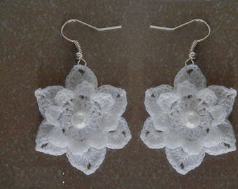 Earrings - white crochet cotton flower. .