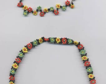 Pearl Necklace flower rasta color seed beads