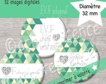 """EVJF """"polygonal vert"""" - 32 Images digitales à imprimer à volonté - Pour cabochon, badge, bijoux"""