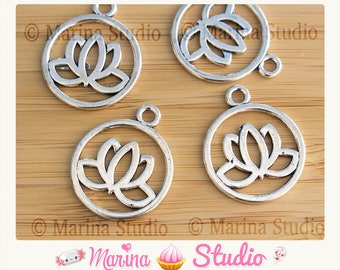 2 20mm silver metal lotus charms