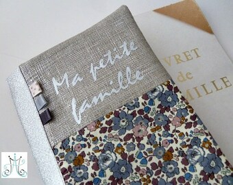 """Protects family record book """"My family"""" duo Liberty Betsy Ann blue storm, silver linen and flags"""