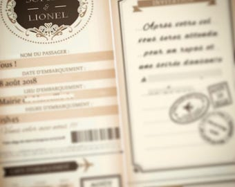 25 romantic ticket theme wedding invitation
