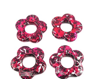 4 large 33 mm, color FUCHSIA acrylic flower beads