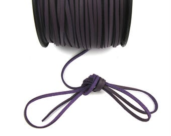 Plum 3 mm leather cord / 1 mm X 1 meter