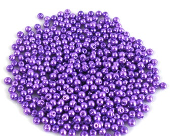 100 4 mm purple Pearl effect glass beads