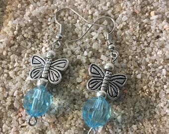 Sky Blue Butterfly Earrings