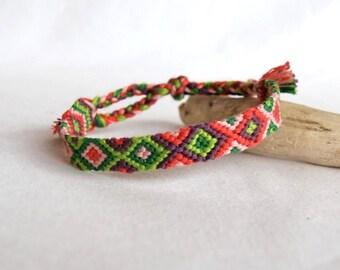 Green purple pink Friendship Bracelet patterns geometric bracelet hippie woman Brasilda raspberry