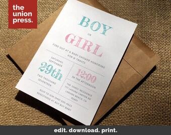 Gender Reveal Baby Invitation, Baby Shower Invitation, Baby Invite, Baby Shower Invite, Baby Invitation Template, Baby Shower, Gender Reveal