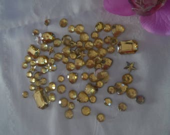 set of 90 beads, Rhinestones, cabochons, flatback yellow different sizes and shapes