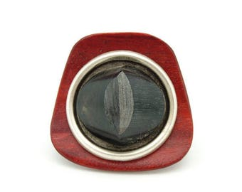 Big Horn, wood, metal rebel ring