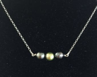 3 Tahitian pearl necklace