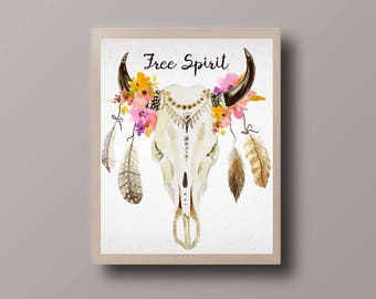 Free Spirit Print, Boho Art Print, Antler Print, Deer Print, Skull Print, Bohemian Print, Hipster Print, Teen Room Decor