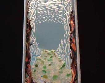 Mirror - hand made, sea theme mirror