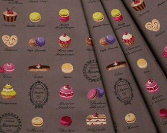 Fabric yuwa macaroons chocolate bottom - nice quality cotton Biscuits chocolate treats fashion beautiful Tilda fabric