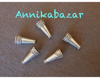 2 large cones ornate ethnic silver 22 mm