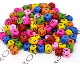 Lot 100 square 9 mm color Alphabet beads various jewelry pendant necklace