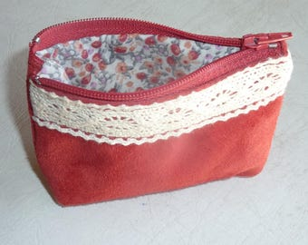 Ecru lace and Red suede leather wallet