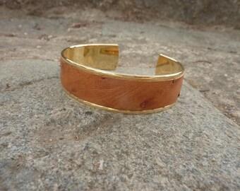 light brown ostrich leather Cuff Bracelet