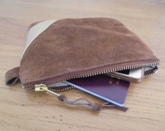 suede leather clutch