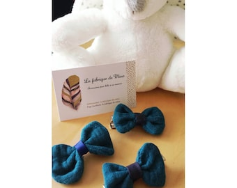 Set of 3 strips teal bow clip