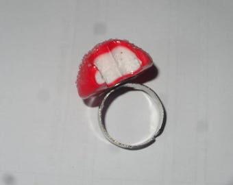 Realistic ring sweet Strawberry bitten