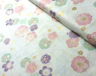 Japanese fabric, pink floral patern of plums etviolet background beige yellow, cotton 110 x 50 (259A)