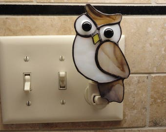 Stained Glass Owl Night Light, Brown