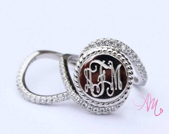 Monogrammed Ring, Monogram Rings, Sterling Silver Monogram Ring, Monogrammed Rings, Monogram Ring,