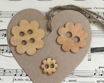 Flower wood buttons