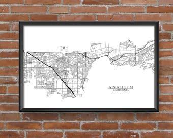 Anaheim, California Map Art