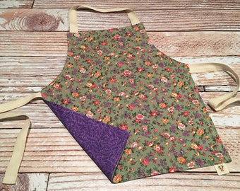 Toddler Size Apron- Purple Floral