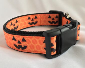 "Happy Halloween 3/4"" and 1"" dog collars"