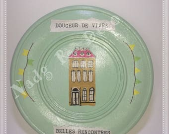 """Plate wooden """"Sweetness of life"""" hand made recycling - 18 cm"""