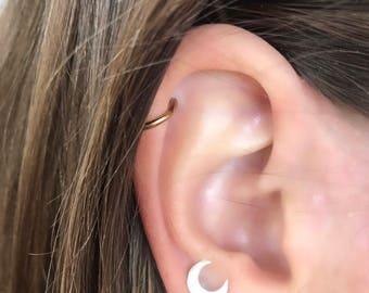 Silver Stud Earrings Crescent Moon