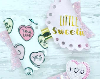 Little Sweetie bow, hair bow set, personalised candy heart bow, pink glitter bow, girls birthday gift,