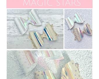 Magic star hair bows, colour change hair clips, light reactive hair bow set, party hair bows, girls birthday gift, gold silver hair bow