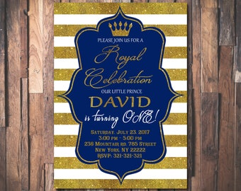 First Prince Birthday Invitation, Royal Blue Gold Invite,First Prince Birthday Invitation, Crown Gold Glitter, Little Prince invitation 1065