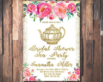 Bridal Shower Tea Party Invitation Printable Bridal Tea Party Invitation Bridal Tea Invitation Tea Party Bridal Shower Invitation 1079