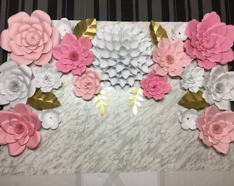 Large Paper Flowers - Set of 17 flowers