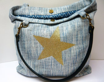 Tote white and Blue Star batik lining