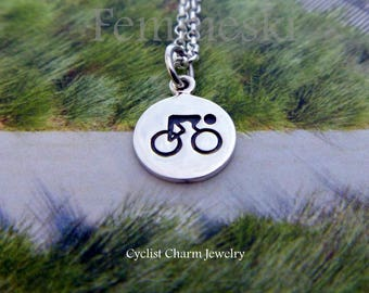 Cyclist Necklace - Sterling Silver Cyclist Fitness Jewelry Charm - Cyclist Jewelry - Bike Rider Necklace - Cyclists Athlete Gifts - Sports